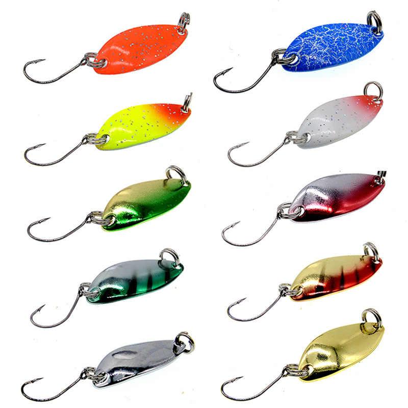 10Pcs Spinner Fishing Blade Hard Fishing Spoon Lures Jigging Lure Baits Tackle