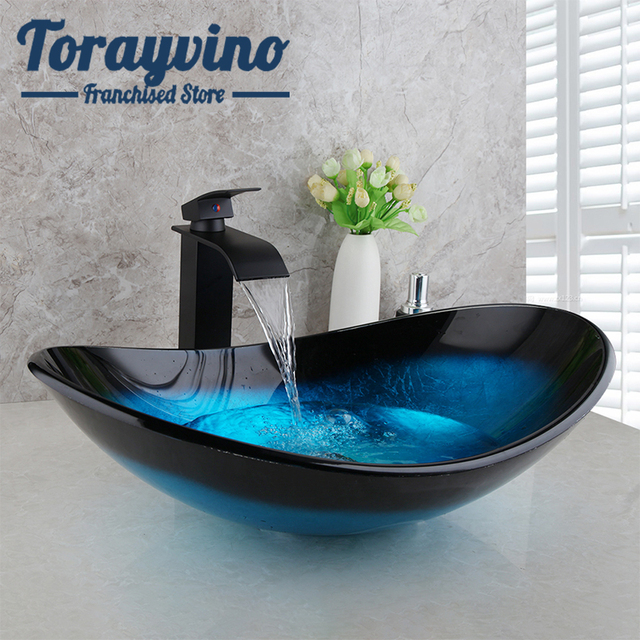 Torayvino Bathroom Wash Basin set lavabo Sink Tempered Glass Hand Painted Waterfall Taps Brass black Faucet Mixer sink Tap Set