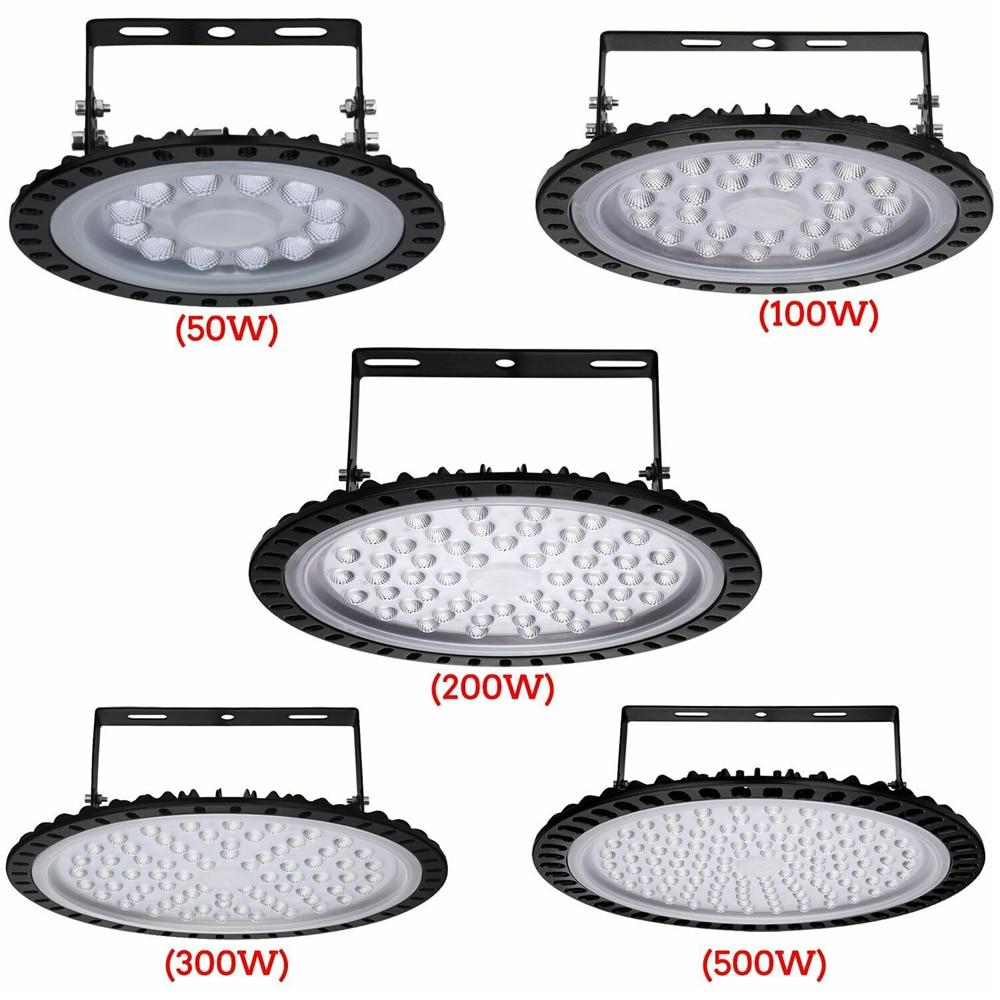 220V 110V LED Flood Lights UFO High Bay Light 50/100/200W Low Bay Lamp Waterproof Ultraslim Industrial Lights for Warehouse Mall