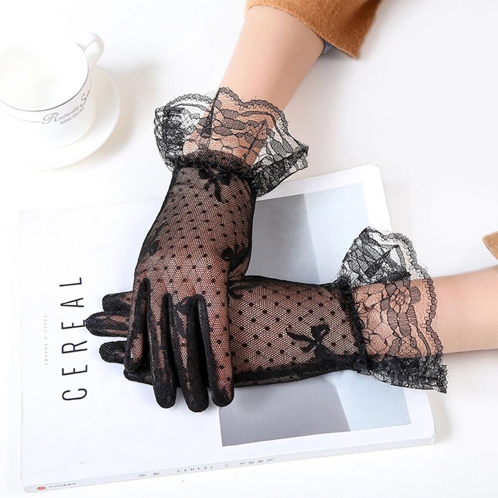 White Lace Bow Gloves See Through Full Finger Short Gloves Cheap Fishnet Gothic Punk Black Mesh Gloves Sheer Tulle