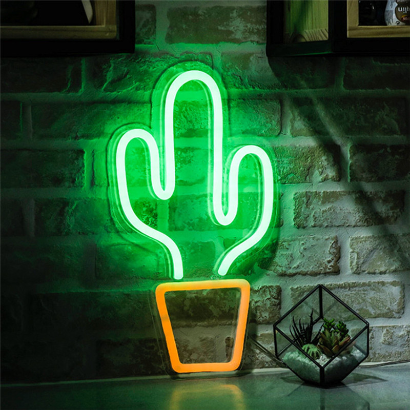 Cactus Shaped Neon Signs LED Neon Lights Art Wall Decorative USB Lights for Room Wall Kids Bedroom Birthday Gift Party Bar Decor image