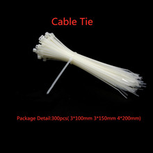 300PCS/lot 3*100 3*150 4*200 Nylon Cable Ties White Wire Self Locking Plastic Zip