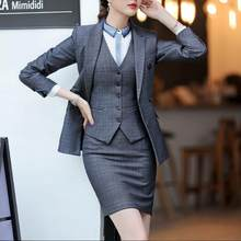 Mini Skirt Suits Women Double Breasted Plaid Blazer Jacket Vest Waistcoat 3 Piece Set Business Formal Work Office Ladies Wear(China)
