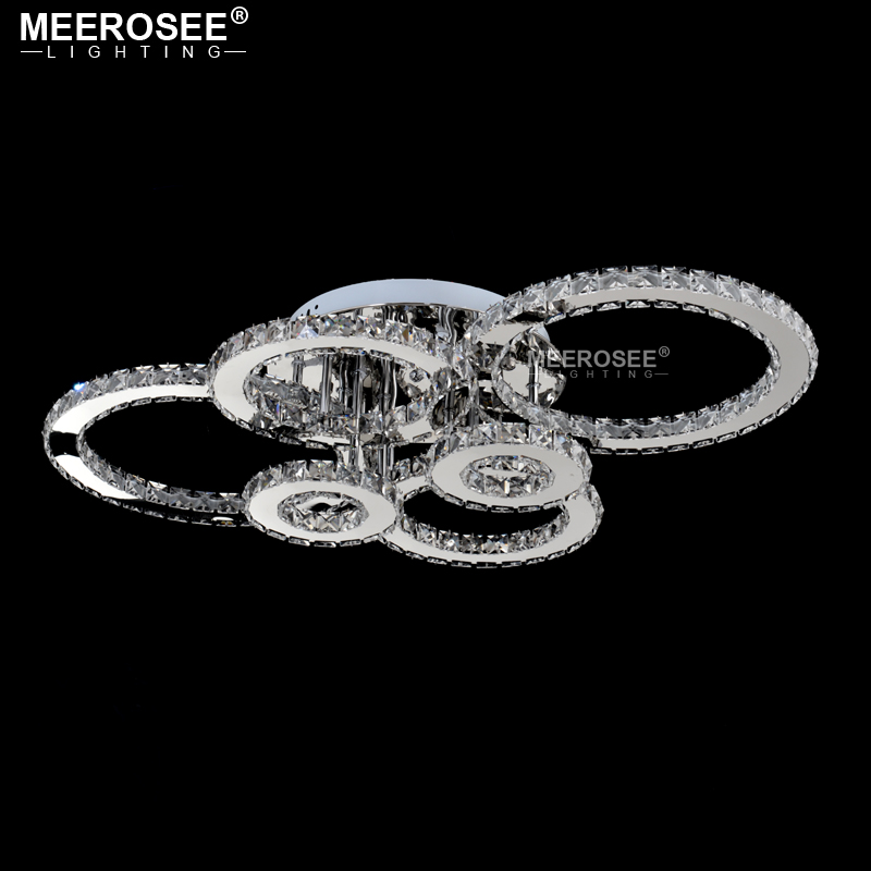 H0ad5c3785ce34c0d9e309fb16af81df6L Good Quality Clear Ring LED Ceiling Lamp Crystals Flush Mounted living room lights lampara led techo for Home Fast Shipping