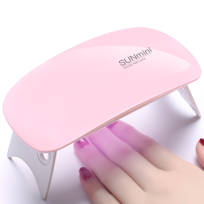 Mini 6W Fold Portable LED UV Lamp Nail Gel Curing Machine USB Cable Mini 6 LEDs Lamps  Nail Dryer For Nail Gel Design DIY Tools