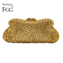 Boutique De FGG Elegant Hollow Out Women Crystal Clutch Evening Purses Bag Wedding Cocktail Party Diamond Minaudiere Handbag