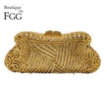 Boutique De FGG Elegante Aushöhlen Frauen Kristall Kupplung Abend Geldbörsen Tasche Hochzeit Cocktail Party Diamant Schminktäschchen Handtasche