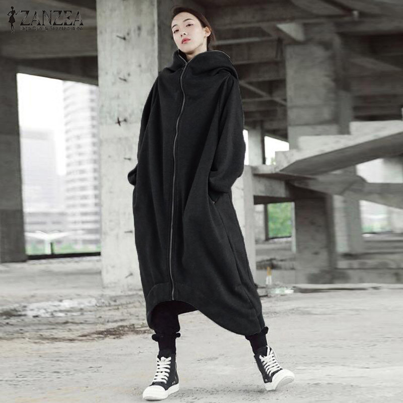 H0ad5cb0613594604880b9a14805d23f7Q 2019 ZANZEA Winter Hoodies Sweatshirt Women Hooded Zip Long Sleeve Fleece Irregular Boyfriend Pockets Long Coat Jacket Plus Size
