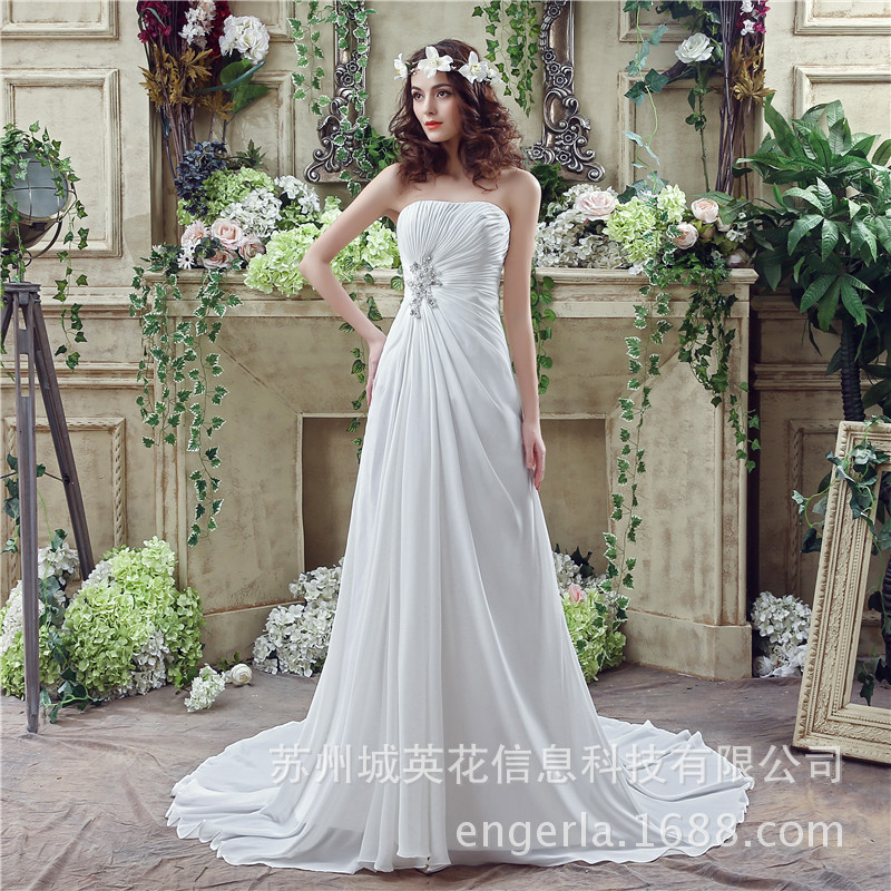 Lace Appliques Wedding Dress 2019 Beach Bridal Gown chiffon Wedding Dresses White Vestido De Noiva