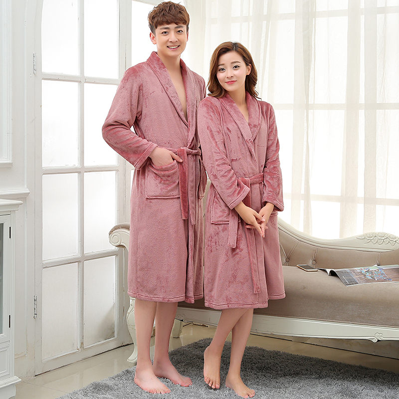 Women Men Winter Long Warm Nightgown Soft Coral Fleece Kimono Bathrobe Flannel Bath Robe Lovers Dressing Gown Bridesmaid Robes
