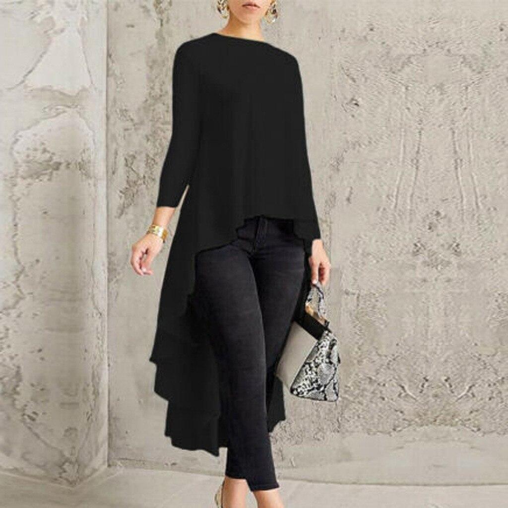 Blouse Women Shirt Long Sleeve Asymmetrical Waterfall Shirt Tops High Low Plus Blouse Women Tops Free Ship блузка женская Z4