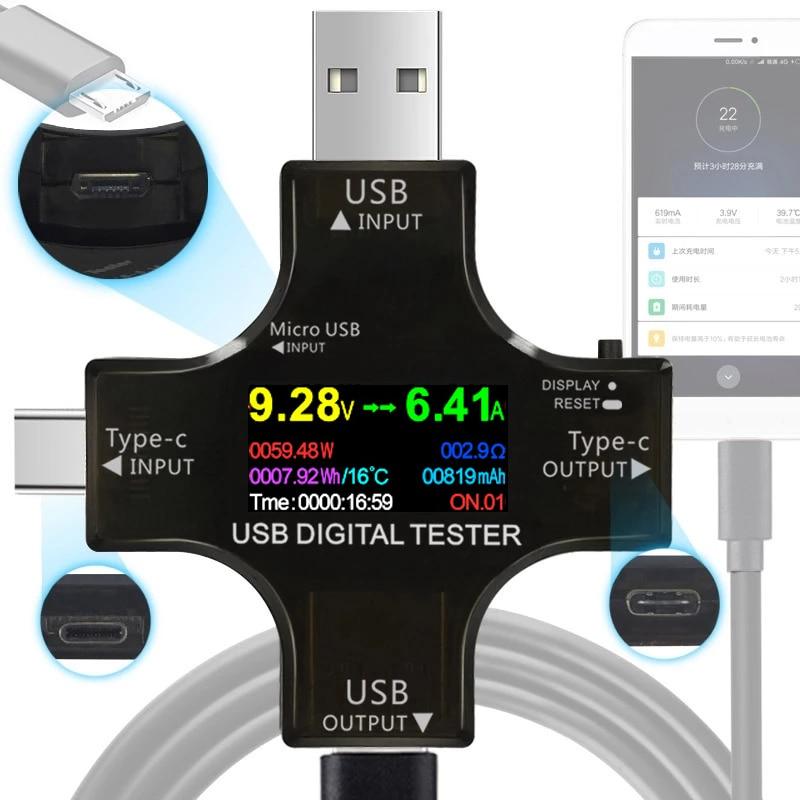 12 в 1 IPS USB Тестер DC Цифровой вольтметр напряжение ток тип с PD измеритель Амперметр детектор внешний аккумулятор индикатор заряда
