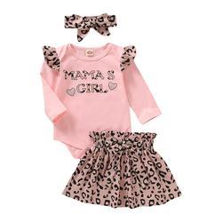 Наряды для новорожденных 3 месяца, одежда для маленьких девочек, розовая юбка с длинным рукавом и леопардовыми оборками, наряды, повседневны...