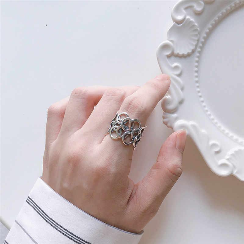 Bohemian ชาติพันธุ์ 925 เงินสเตอร์ลิงวงกลมขนาดใหญ่แหวนสำหรับเจ้าสาวงานแต่งงาน VINTAGE เปิดแหวนนิ้วมือคริสต์มาสของขวัญ