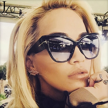 2019 New Brand Sunglasses Women Luxury Designer T Fashion Black Cat Eye oversized Sunglasses Female Gradient Sun Glasses oculos 4