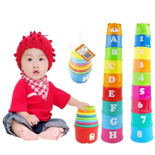 9Pcs/Set Mini Bear Stack Cup Educational Baby Toys Rainbow Color Figures Folding Tower Funny Piles Cup Letter Toy For Kids FZH