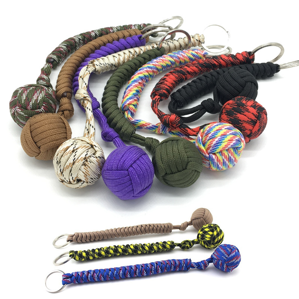 Outdoor Security Protection Black <font><b>Monkey</b></font> <font><b>Fist</b></font> <font><b>Steel</b></font> <font><b>Ball</b></font> Bearing Self Defense Lanyard Survival Key Chain Climbing Woven Key Rope image