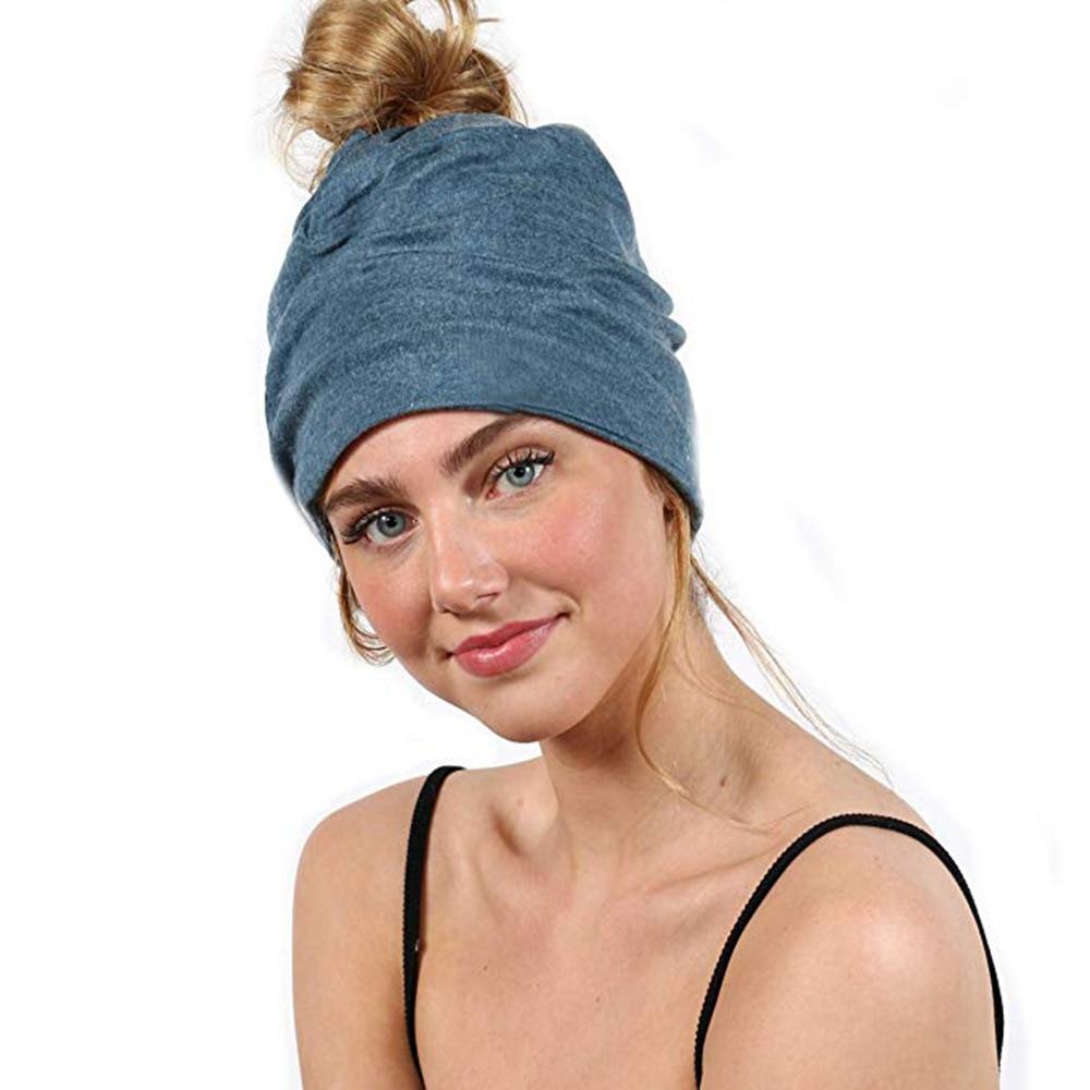 Ruoshui Woman Ponytail Hat Warm Beanies Causal Cap For Ladies Hip Hop Skullies Headwear Winter Autumn Bonnet Femme Turban Caps