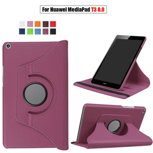 Rotating PU Leather Case for Huawei MediaPad T3 8.0 Honor Play Pad 2 KOB-L09 KOB-W09 Tablet Funda Cover for Huawei T3 8.0 Glass(China)