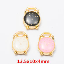 20pcs 13*10mm Metal alloy Gold enamel color alarm clock charms Diy Bracelet pendants Alloy earring Jewelry making Accessories(China)