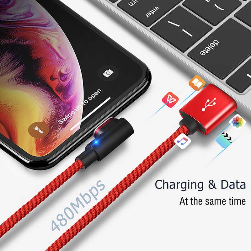 USB magnetica di Tipo C Cavo di 90 Gradi 3A Veloce di Ricarica di Dati del Caricatore del Cavo Per Samsung S9 Huawei Xiaomi USBC Magnete carica Ha Condotto La Luce