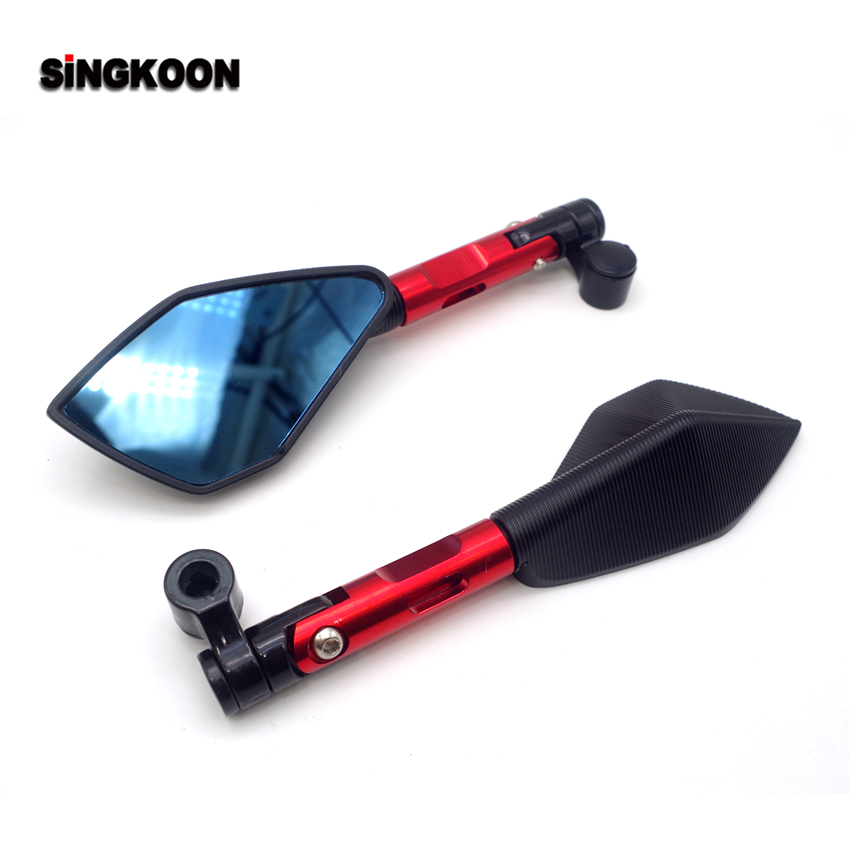 FOR z900rs versys 650 moto custom benelli tnt 125 300 Universal cnc motorcycle Rearview Side Mirror Blue Lens retroviseur