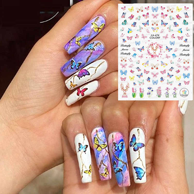 Butterfly 2021 Spring Newest Series 3d Nail Art Stickers Decal Template Diy Nail Tool Decorations Stickers Decals Aliexpress
