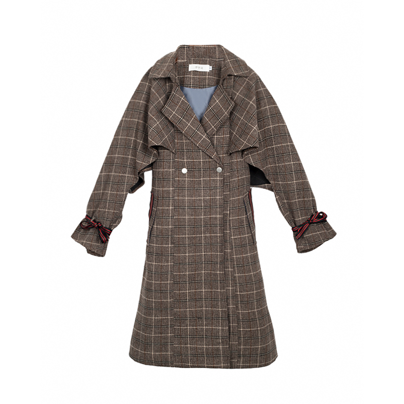 Liva girl Woman Autumn Plaid Long Coat Fashion Turn-down Collar Long Sleeve Straight   Trench   Coats