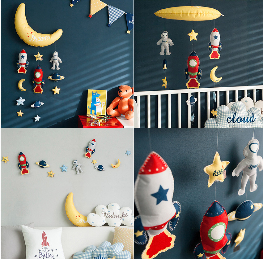 Star Rocket Wall Decoration Baby Toys DIY Cloth Manually Sewn Kids Room Decor Tent Nursery Hanging Ornament Bebek Oyuncaklar