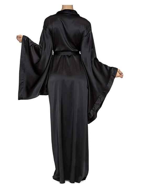 2019 חדש מוצק גלימות נשים שחור אדום ארוך שרוול כתונת לילה גבירותיי בנות משי סאטן חלק אביב תחרה נשי הלבשת חלוק רחצה