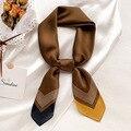 2021 Элитный бренд шелковый шарф квадратной формы для женщин; Плотная полосатая линия платки и палантины модная сумка шарфы волос Галстуки-ба...