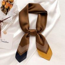 2021 marca de luxo lenço de seda quadrado feminino linha listrada simples xales e envoltórios moda saco scarfs cabelo gravata bandanas hijab 70*70cm
