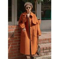 2019 Women Trench Woolen Coat Winter Outerwear Embroidery Letter Pocket Long Oversized Female Coats Jacket