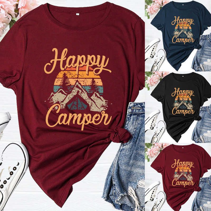 Womens Fun Happy Graphic Tees Cute Short Sleeve Letter Printed T-Shirts Top