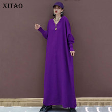 Knit Dress Plus-Size XITAO Women Clothes Oversized Western-Style Long V-Neck Solid-Color
