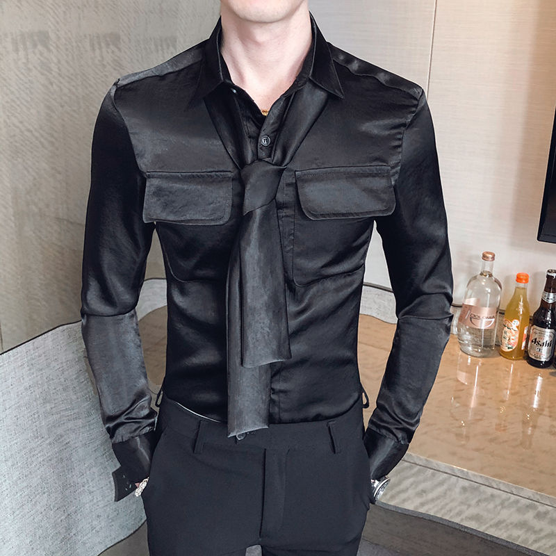 Camiseta Masculina Men's Fashionable Solid Color Long-sleeved Shirt Slim Tie Remove Men's Shirt Chemise Homme Manche Longue 4