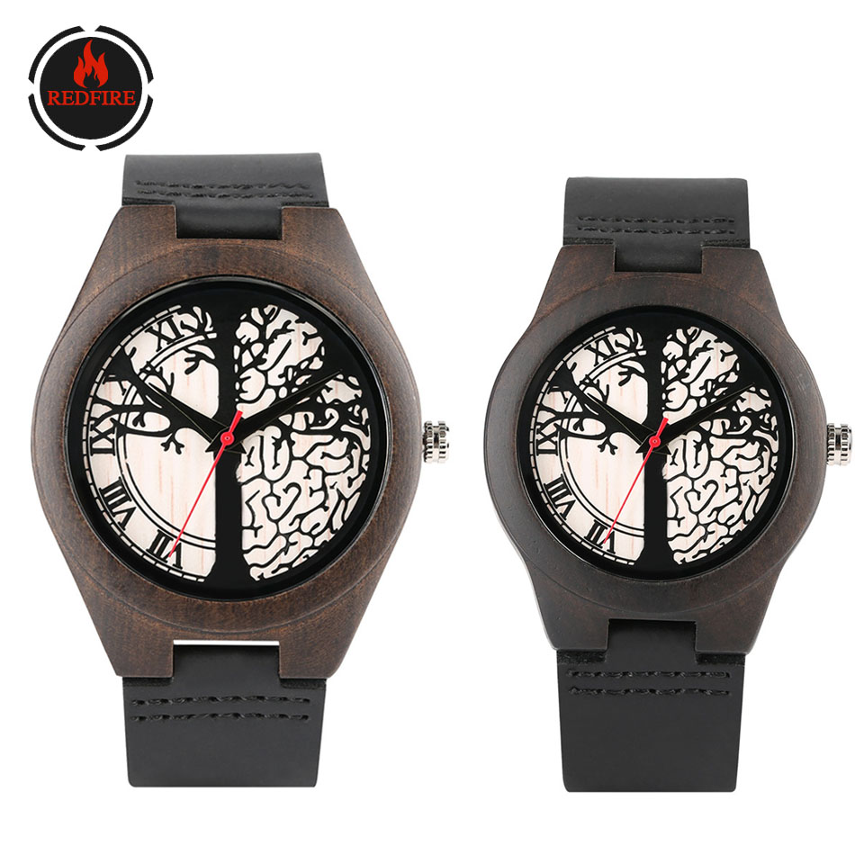 REDFIRE Life Tree Design Couple Watches Ebony Wood Watch Genuine Leather Lovers Watch Quartz Casual Wrist Watch Valentine' Gifts