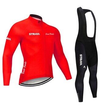 2019 strava outono manga longa camisa de ciclismo conjunto bib calças ropa ciclismo roupas de bicicleta mtb camisa uniforme roupas masculinas 26