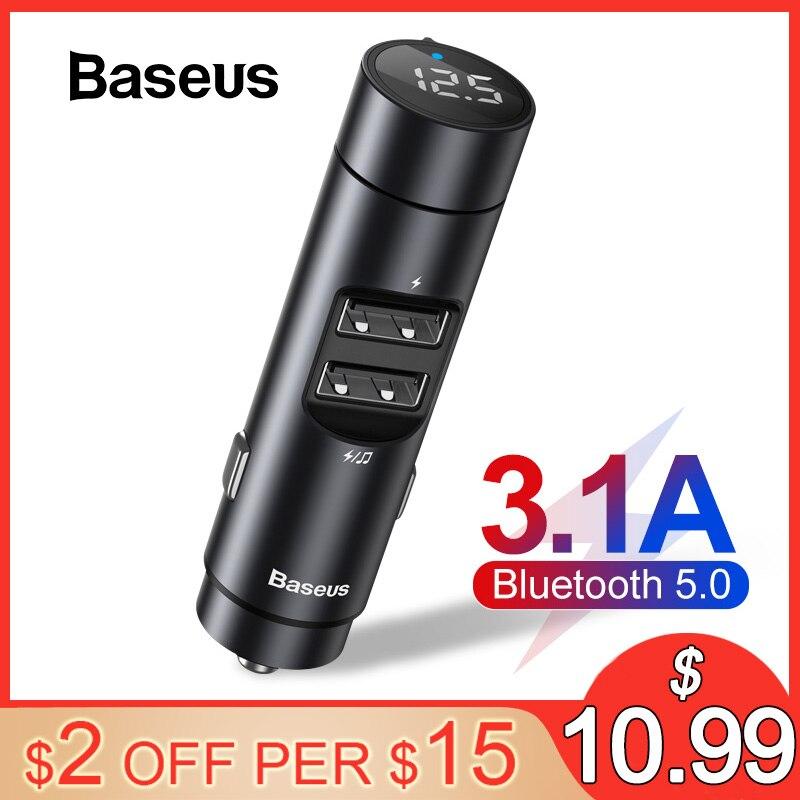 Baseus carro fm transmissor modulador bluetooth 5.0 carro kit com 3.1a duplo usb carregador de áudio automático mp3 player carro transmissor fm