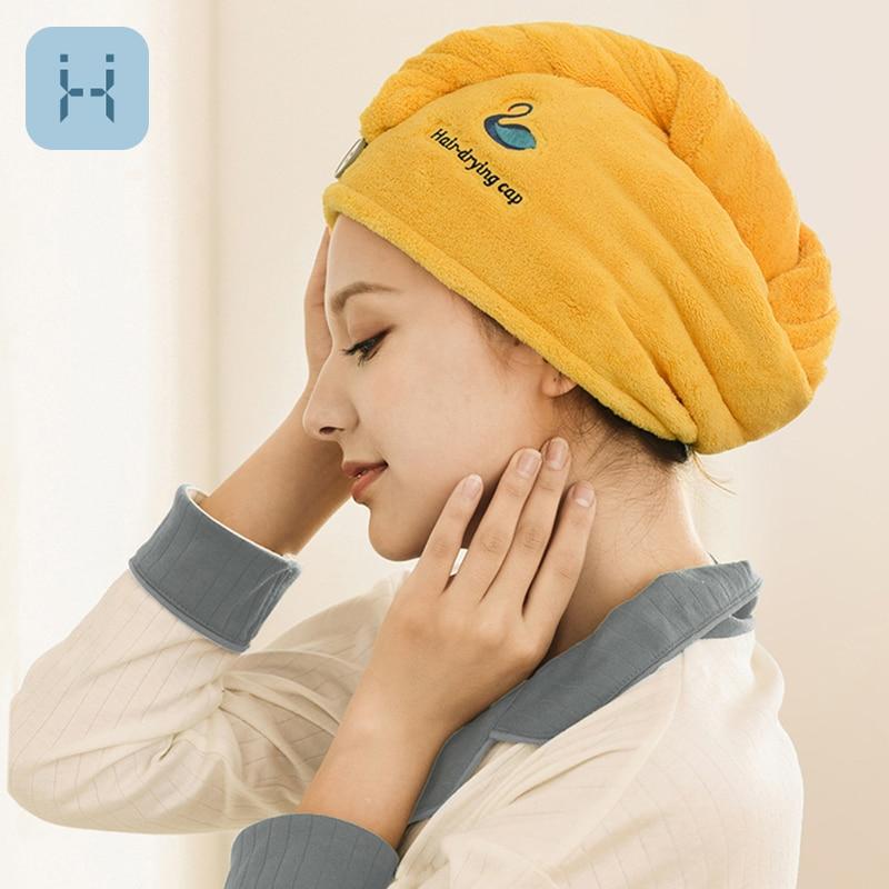 Coral Velvet Bath Towel Quick Drying Hair Cap Embroidery Hair Twist Soft Microfiber Shower Hat Lady Bathing Turban Head Wrap