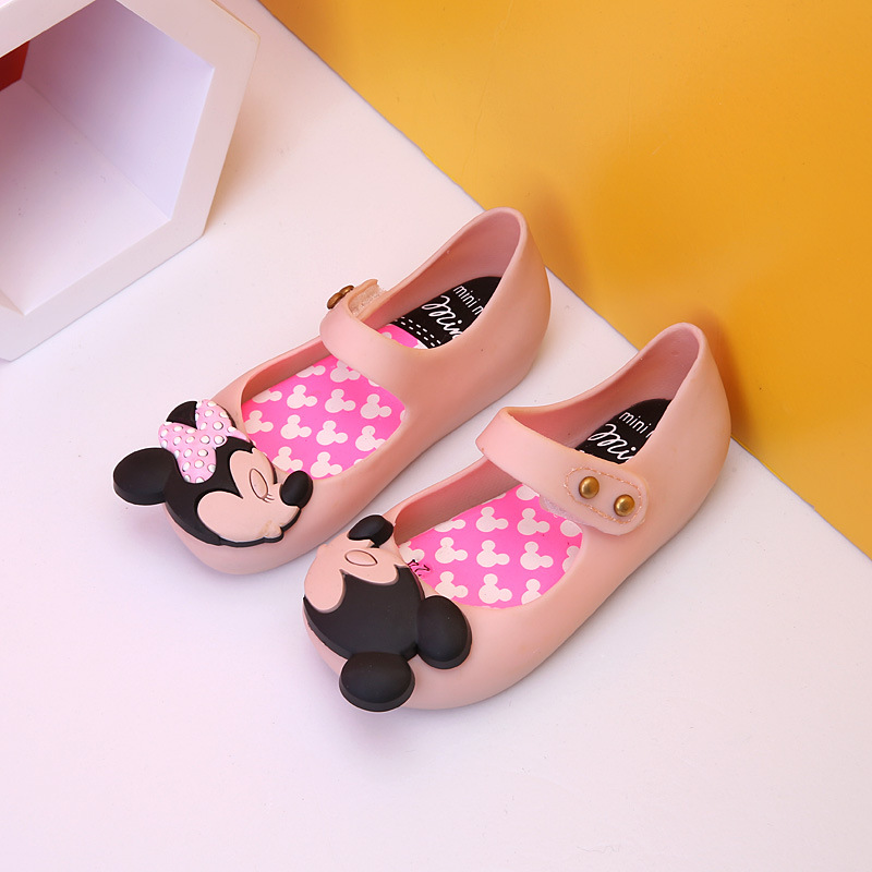 Melissa Mini Shoes Original Summer New Girls Sandals Mickey And Minnie Child Baby Girl Princess Kids Jelly Sandals Red SH19082