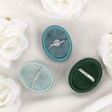 Oval Velvet Ring Box Single Ring Display Holder with Detachable Lid Ring Box Holder for Wedding Ceremony(Blue Gray)