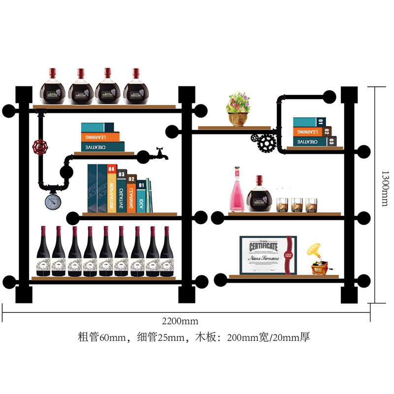 CF3 High Quality Bar Kitchen Wine Storage Shelf Wine Display Rack Made Of Iron Pipes,boards/holder Retro Design Bookshelf
