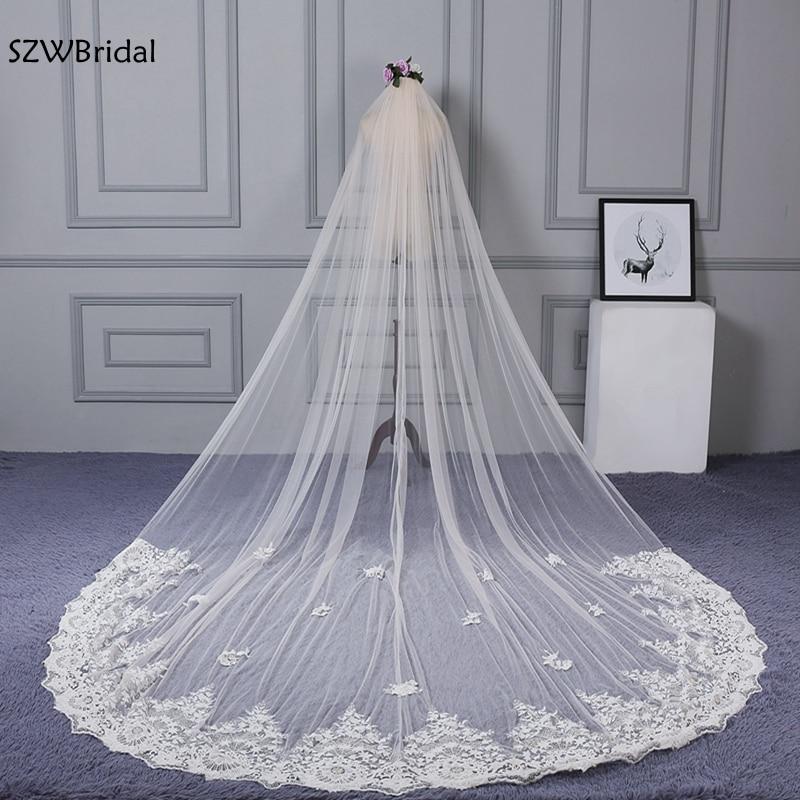 New Arrival Ivory Appliques Lace Wedding Veil 2020 Cathedral Bridal Veil Casamento Velos De Novia Largos Wedding Accessories