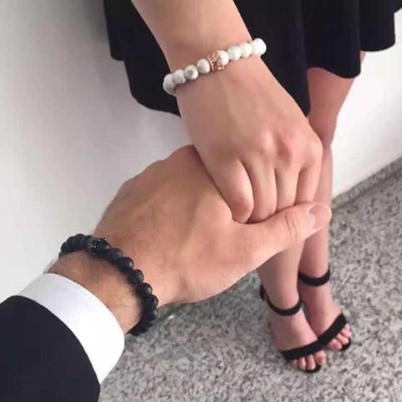חדש וולקני אבן ידידות צמידי צמיד לבן כתר חרוזים אבן צמיד זוג מודלים Mujer Moda 2019