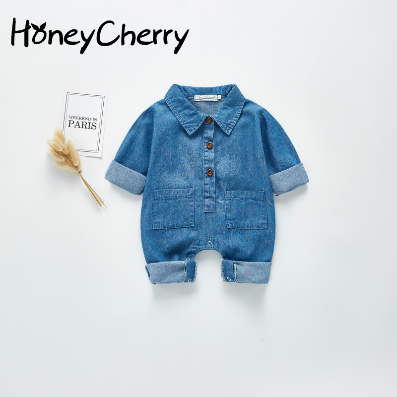 2020 Spring Baby Romper Baby's New Long Sleeved Denim Romper For Boys And Girls New Born Baby Clothes