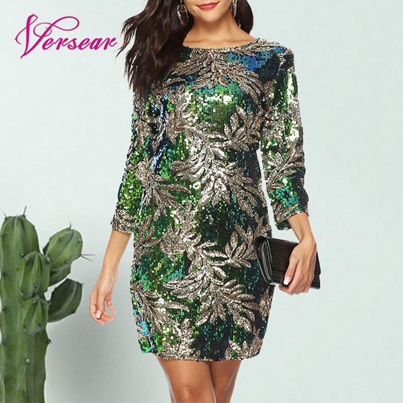Versear Women Bodycon Dress Sequined Glitter Bling 3/4 Sleeves O Neck Evening Party Casual Mini Dress Elegant Streetwear Vestido