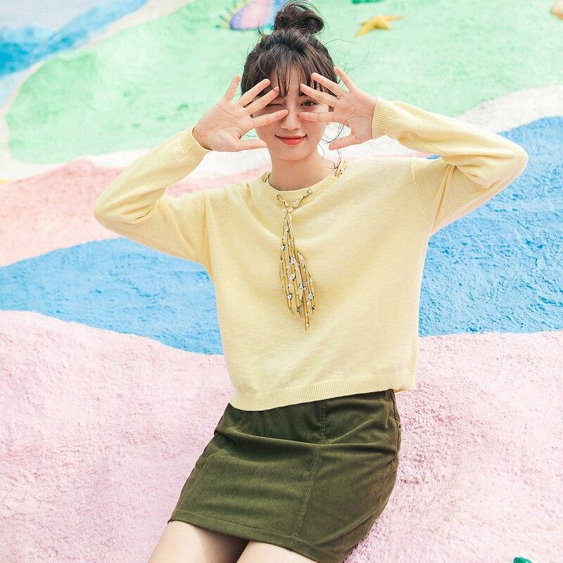INMAN Spring Autumn Sweater Coat Short V-Neck Fashionable Long Sleeve Knit Women's Sweater