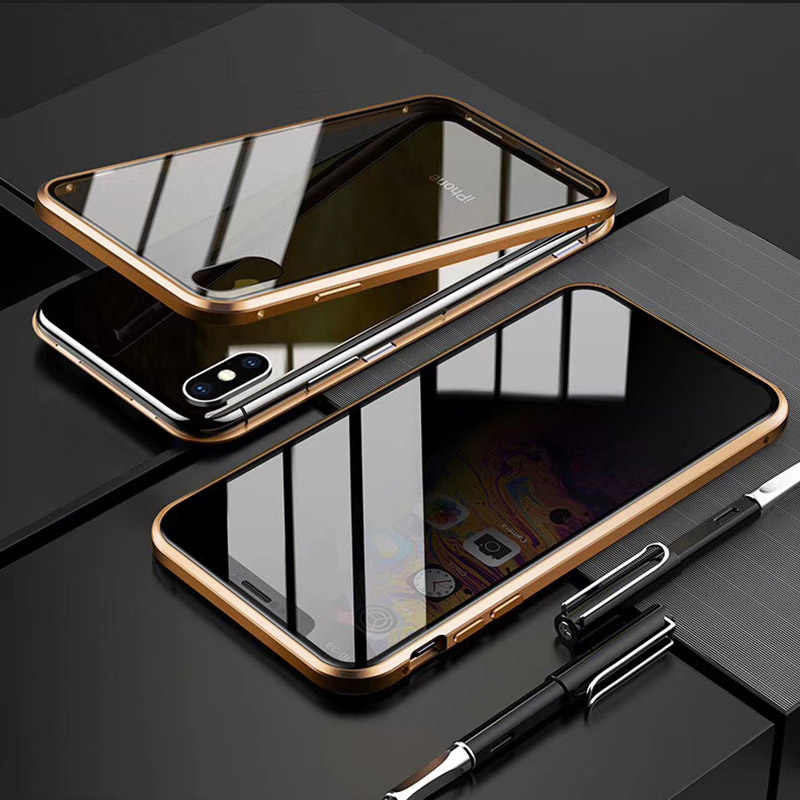 Privacy di Caso Magnetico per Iphone 8 7 11 Pro Max X Xs Max Xr 6 6S Plus Double Sided metallo in Vetro Temperato di Coperture Mobile di Protezione