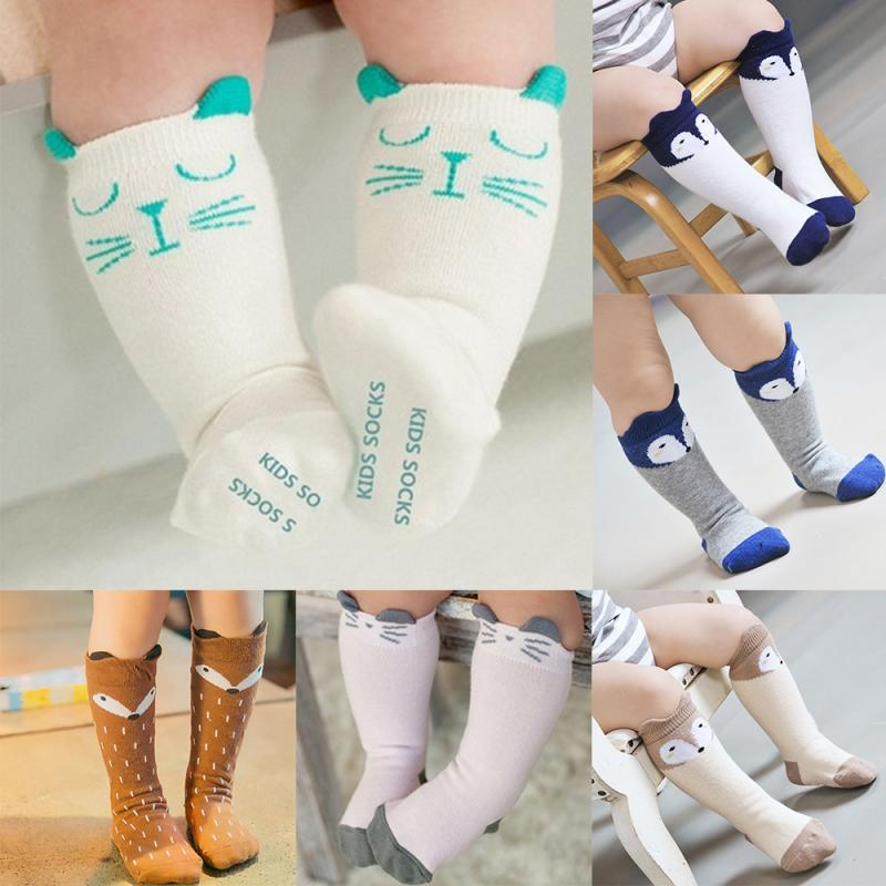 1 Pair Unisex Lovely Baby Socks Cute Cartoon Fox Kids Baby Socks Knee Girl Boy Baby Toddler Socks Animal Infant Soft Socks 0-3Y